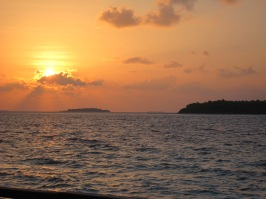 Sunset from our Water villa