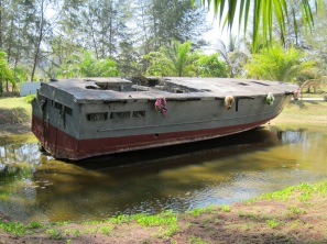 One of the police boats brought inland during the Tsunami